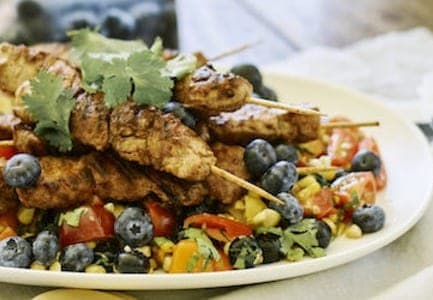 Mexican Blueberry Pork Skewers with Salsa