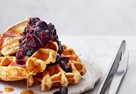 Waffles with Blueberry, Apple Compote & Cinnamon Mascarpone