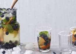 White Sangria with Blueberry, Peach & Mint